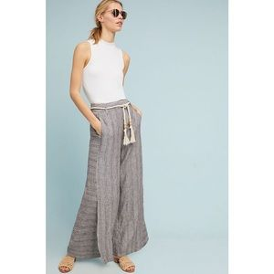Anthropologie Striped Linen Wide-Leg pants